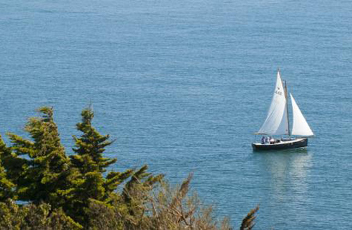 Sailing Out Looe Harbour